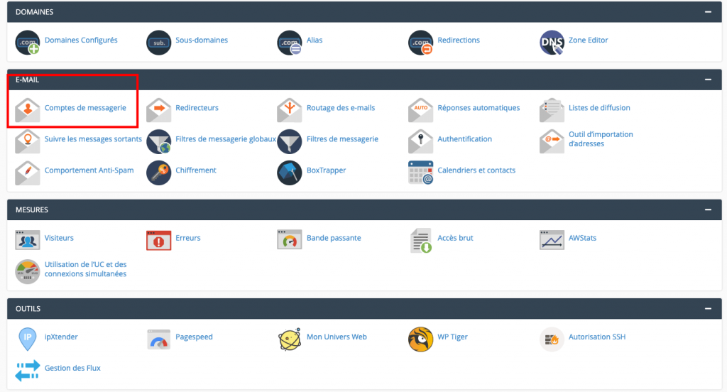 Email via le Cpanel