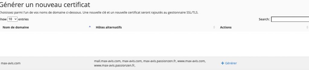 Générer un nouveau certificat SSL