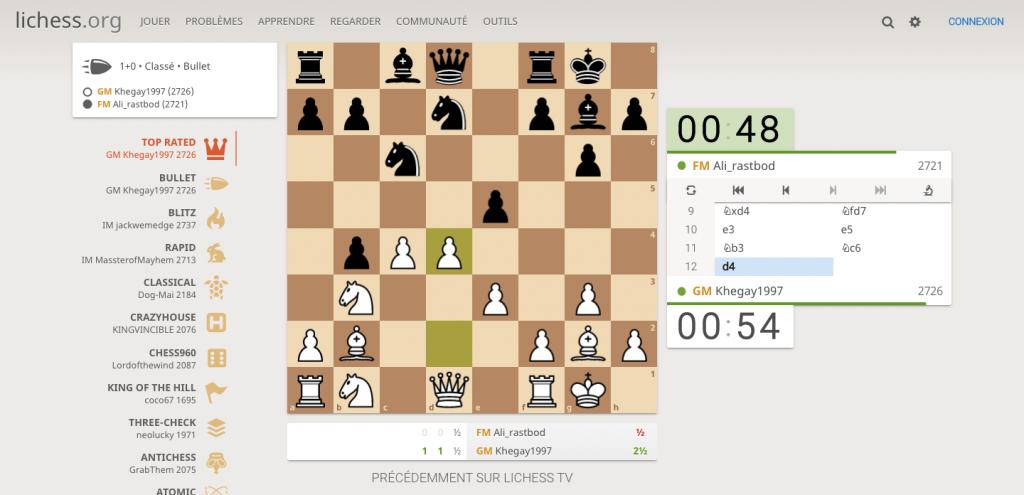 Partie de streaming échecs