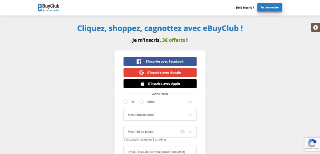 Inscription eBuyClub
